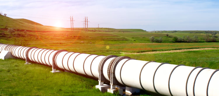 Industrial pipe transporting gas in a field