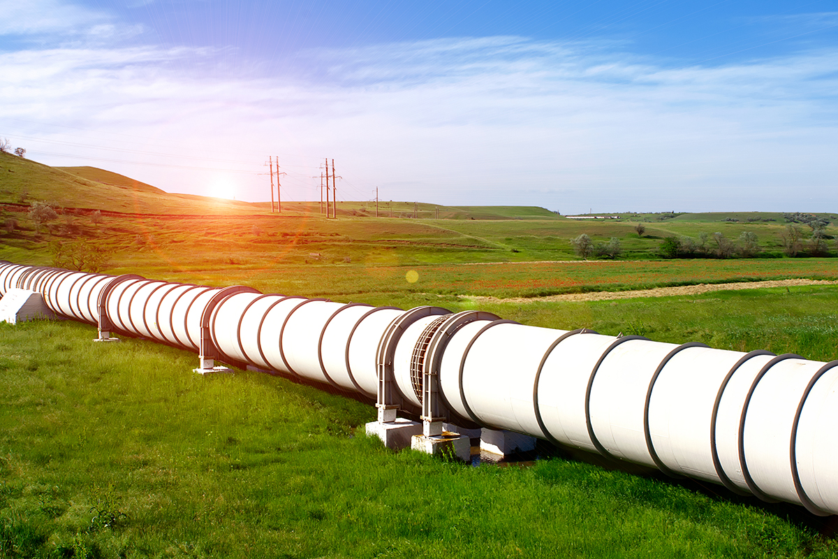 Industrial pipe with gas in a field